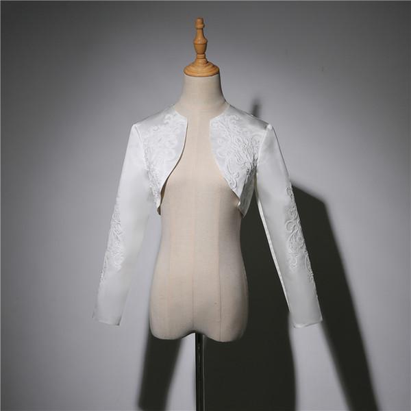Bridal Satin Wedding Shrug Wedding long sleeve Lace bolero jacket Coat woman in evening dress Wedding Accessories