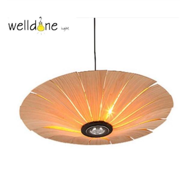 Southeast Asia Chinese Style Wooden veneer pendant Lights Living Room Restaurant Lamp Dining Room Lights
