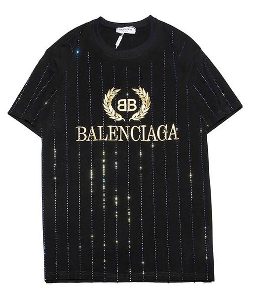 9102 новый тройник черный BB мужчины женщины Золотая буква логотип вышивка горный хрусталь футболка с коротким рукавом футболки с вырезом оптом S-XXL