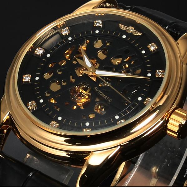 Gewinner Top-Marke Luxus Royal Diamond Design Schwarz Gold Uhr Montre Homme Herrenuhren Relogio Männliches Skelett Mechanische Uhr J190614