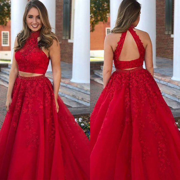 Red Princess two piece prom dresses High Neck open backs Lace Evening Formal Gowns Beaded Fitted Puffy Aline prom dress 2019 vestidos festa