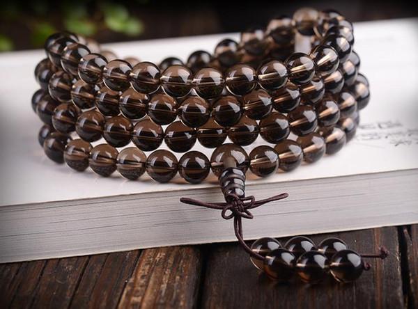 Natural brown crystal bracelet 108 tablets beads men and women smoke crystal bracelets Buddhist tea crystal bottom wheel rosary