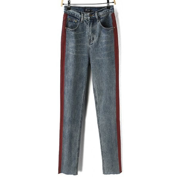 Pencil Pants Scratched Panelled Side Stripe Bleached Zippers Pockets Button Ankle Length Women Jeans High Waist Casual Regular