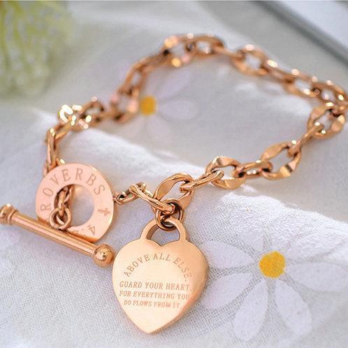 top popular Fashion Love Jewelry Stainless Steel Women Rose Gold Bracelet Bangles Silver Love Heart Bracelets For Birthday Gift 2021