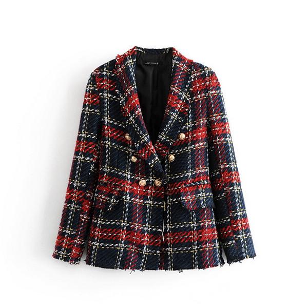 autumn new women blazers Tweed Plaid Double-Breasted Contrast Hem Burst Jacket female fashion suits outerwear ladies coats