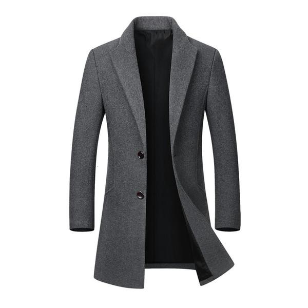 Men Jacket Warm Winter Trench Coat Long Outwear Button Overcoat Male Casual Windbreaker Overcoat Jackets coats Wool Blends T190923