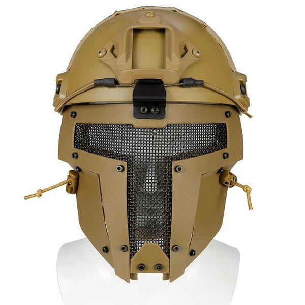 New Outdoor Brown Helm Mesh Sport Motorrad Helm Vollgesichtsmaske Armee Fan