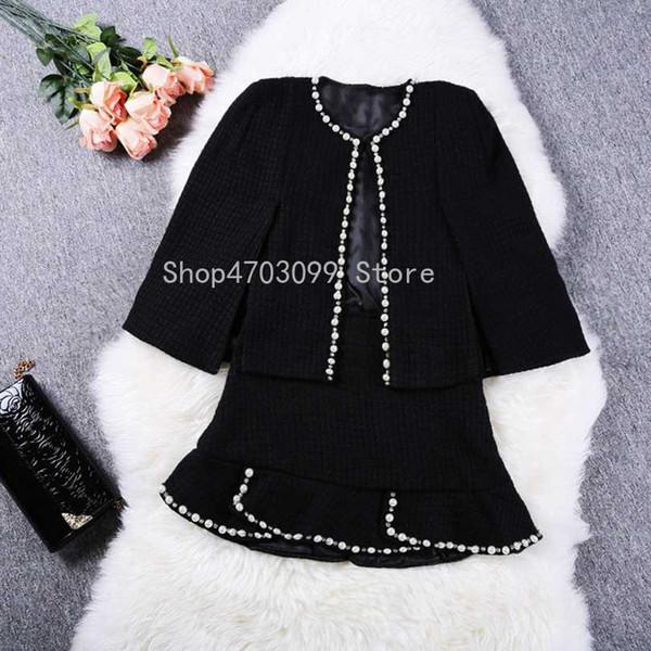 2019 Winter Spring Runway Cardigan Cape Style beaded jacket Femme Coat +Short Ruffles Skirt 2 Pcs Women Black Beading Skirt Set