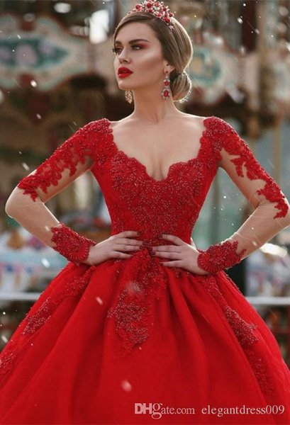 New Hot Red Evening Dresses A Line Backless Beads Crystals V Neck Long Illusion Sleeves Court Train Illusion Back Formal Evening Party Wear
