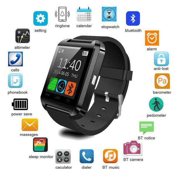 U8 Bluetooth Smart Watch Touch Screen Wrist Watches For iPhone 7 IOS Samsung S8 Android Phone Sleeping Monitor Smartwatch With Retail Packag