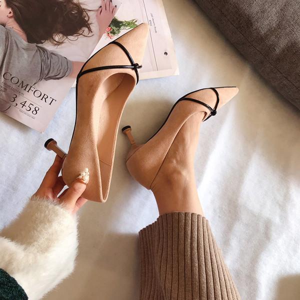 Venda quente-mulheres camurça fina com sapatos de dedo apontado 2019 primavera outono modelos de explosão novos sapatos de salto simples simples sapatos de escritório profissional mulher