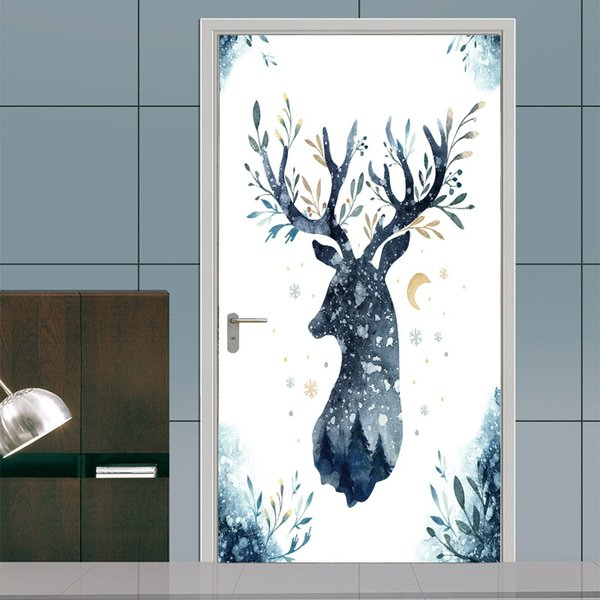 2Pcs/Set Creative Animal Deer Elk head Door Stickers Painting Wallpaper Poster Wall Sticker Bedroom Living Room Home Decoration