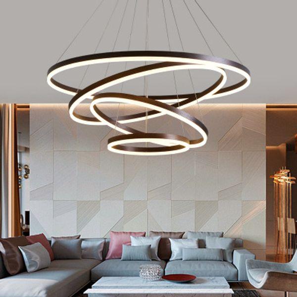 Acheter 40cm 100cm Anneaux Fashional Moderne Led Lustres Pour Salon Salle A Manger Diy Suspendus Eclairage Cercle Anneaux Pour L Eclairage Interieur