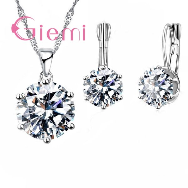 New Fashion Luxury CZ Jewelry Sets 925 Sterling Silver Earring+Pendant Necklace Set Women Anniversary Engagement Gift Set