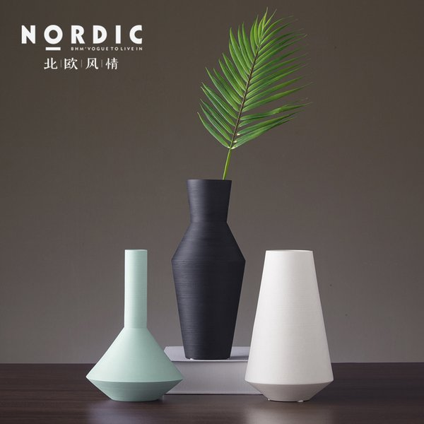 Nordic ceramic creative Modern wire drawing flower vase home decor crafts room decoration objects parlor Dried flower vase gifts