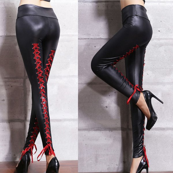 Crossed Lace Up Skinny Faux Leather Women Pants High Waist Fitness women's Pants 2018 Autumn Goth Black Thin Elastic Leggins