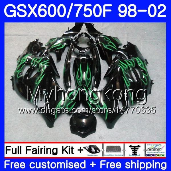 Corpo per SUZUKI GSXF 750 600 GSXF750 1998 1999 2000 2001 2002 292HM.69 GSX 600F 750F KATANA verde fiamme calde GSXF600 98 99 00 01 02 Carenatura