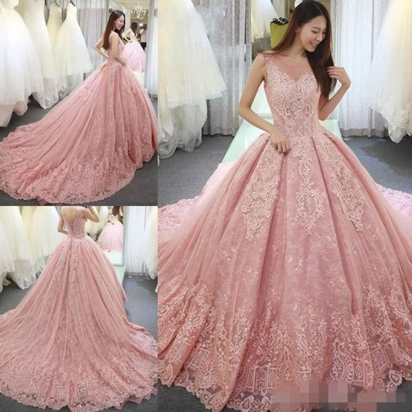 Pink Quinceanera Dresses 2020 Lace Sheer Scoop Neck Sleeveless Sweep Train Custom Made Sweet 15 16 Ball Gown Prom Formal Evening Wear