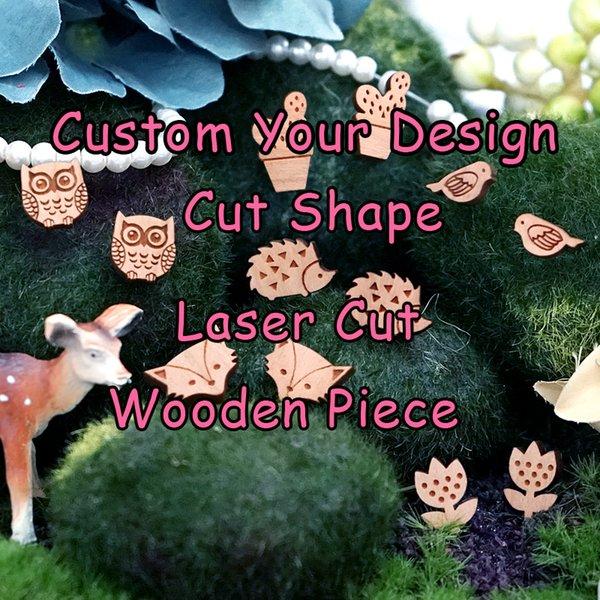 Custom Your Own Design Forma Legno Gioielli Fascino Laser Cut Pezzi in legno per DIY Collana Orecchini Bracciale Anello spilla