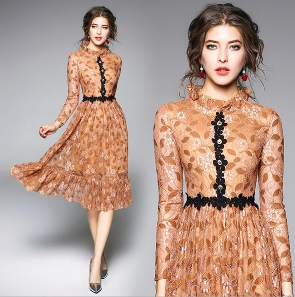 2019 Primavera 2018 Sweet Womens Vestidos Elegant Stand Collar High End Lace Hollowed Out Waist In The Long Sleeves Of The Grown Up De Vestidos From