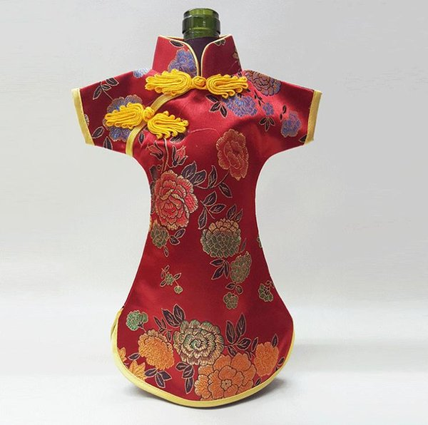 Retro Chinese Silk Brocade Wine Bottle Cover Creative Home Party Table Decoration Pouch Ethnic Craftchampagne Packaging Bags SN2490