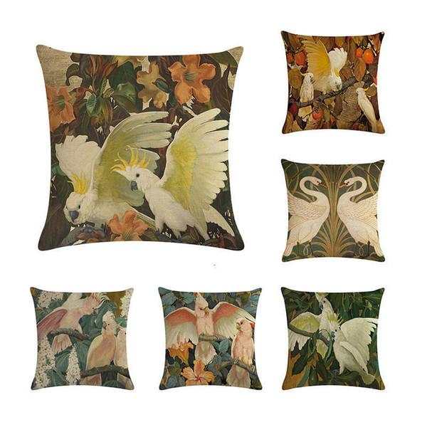 45 * 45cm Birds style d'impression Coussins couverture en coton et lin Parrot Swan grue Seat Sofa Taie pour le salon BedroomZY154