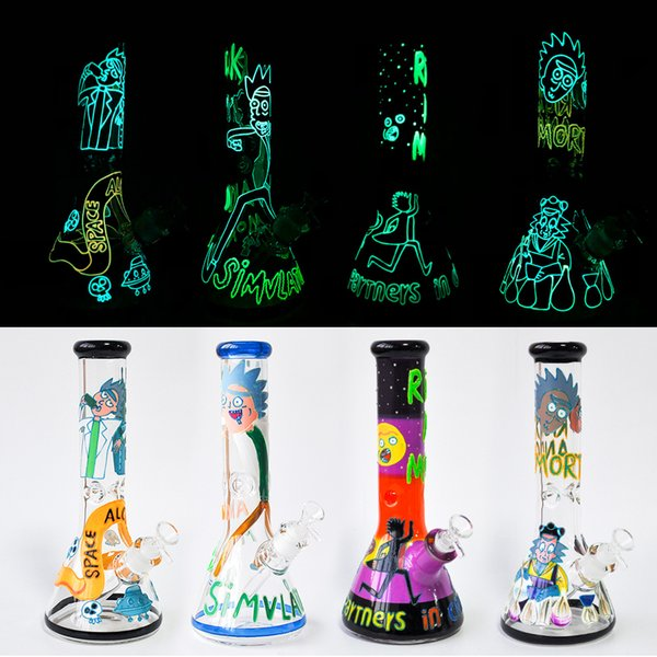 "High Quality Glow In Dark 12"" Glass Beaker Bongs 7mm thick Glass Water Pipes Oil Rigs Smoking Pipe free shipping"