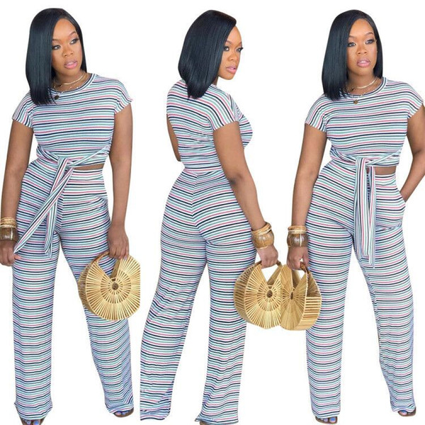 designer women clothes striped tracksuits two piece pants casual sets 2019 fashion summer short sleeve two piece jogger set ladies tracksuit