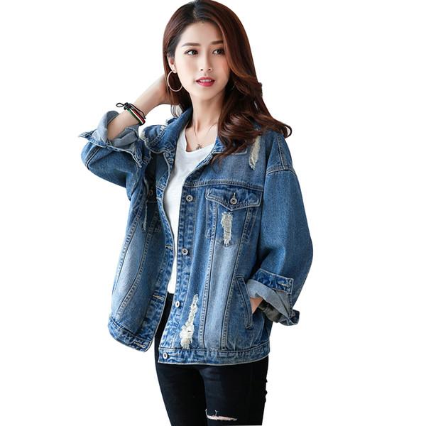 Großhandel Frühling Herbst Frauen Jeansjacke Vintage Langarm Loch Freund Trends Jean Mantel Lose Jeans Mantel Weibliche Übergroße Oberbekleidung Von