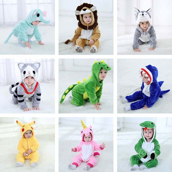 Baby Pikachu Unicorn Dinosaur Dog Lion Costume Kigurumi Cartoon Animal Rompers Infant Toddler Halloween Fancy Dress