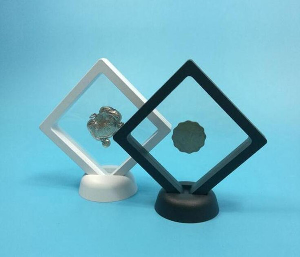 top popular 400PCS Black white Suspended Floating Display Case Jewellery Coins Gems Artefacts Stand Holder Box 2021