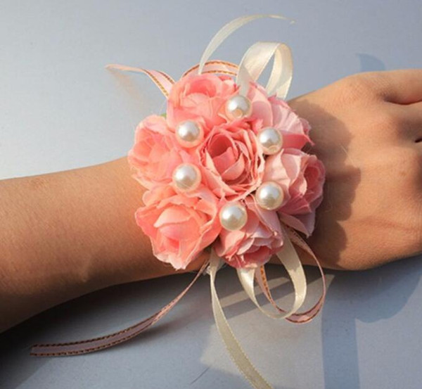 Girls Bridesmaid Wrist Flowers Wedding Prom Party Corsage Bracelet Fabric Hand Flowers Elastic Lace-Up Flower Wedding Supply GB302