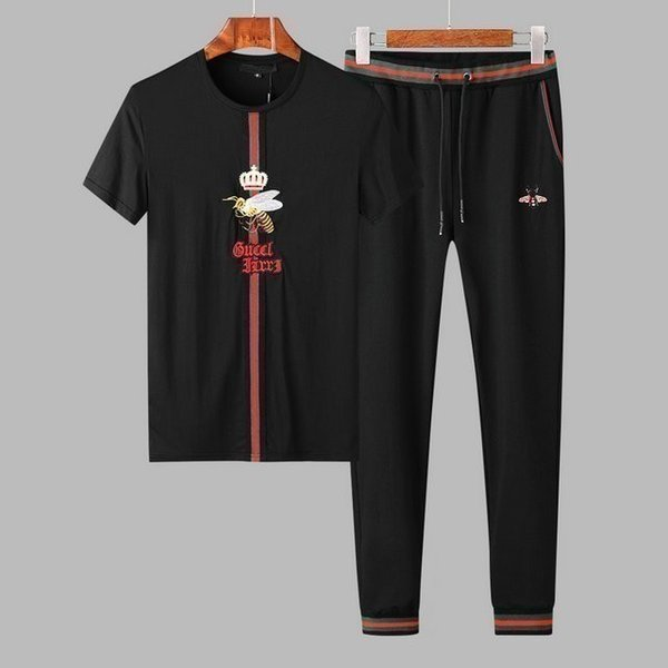 spring and summer short-sleeved two-piece print small men's casual pants tracksuit jogging suits men