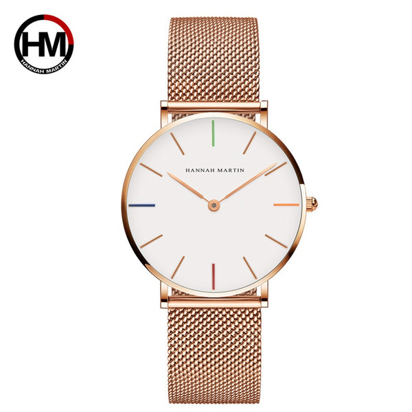 Women's Watch with Electroplated Waterproof Watch with Japanese Machine Core Steel Mesh