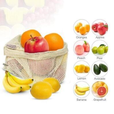 3pcs/set Reusable Cotton Mesh Grocery Shopping Bags Vegetable Fruit Fresh Handbags Home Storage Pouch Mesh Drawstring Bag CCA11578 30set