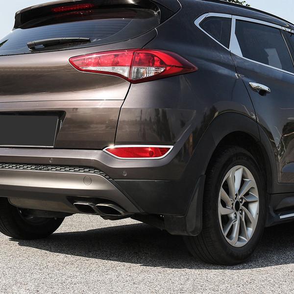 Car Styling 2ST ABS Verchromte hintere Endstück-Nebel-Lampen-Licht-Abdeckungs-Ordnung für Hyundai Tucson 2016 2017