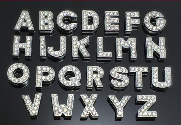 8 mm A-Z diamantes de imitación completos bling Letras de diapositivas Accesorios de bricolaje aptos para 8mm collar de mascota pulsera de cuero