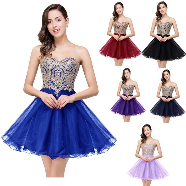 best selling $19.9 New Cheap Mini Short Homecoming Dresses 2019 Little Black Lace Appliques Tulle Cocktail Prom Party Gowns CPS411