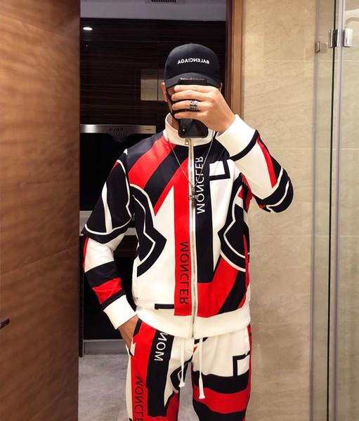 Мужская спортивный костюм мода толстовки + брюки 2 шт. наборы сплошной цвет бренд наряд костюмы 2019 высокое качество костюмы для мужчин