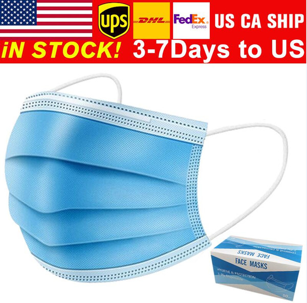 top popular Free shipping 3-7 days to US Disposable Face Masks with Elastic Ear Loop 3 Ply Breathable for Blocking Dust Air Anti-Pollution hot 2021