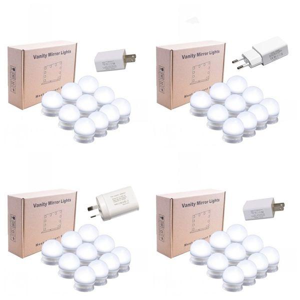 LED Spiegel Frontlampe Drei Farben USB Lade Einstellbare Schminkspiegel Helligkeit Lichter 10 stücke ein satz