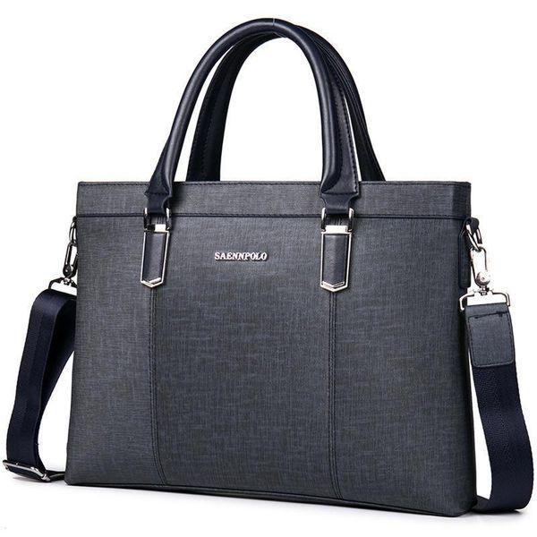 Saennpolo Classic Business Man Briefcase Luxury Brand Computer Laptop Shoulder Bag Leather Mens Handbag Messenger Bags Men Bag
