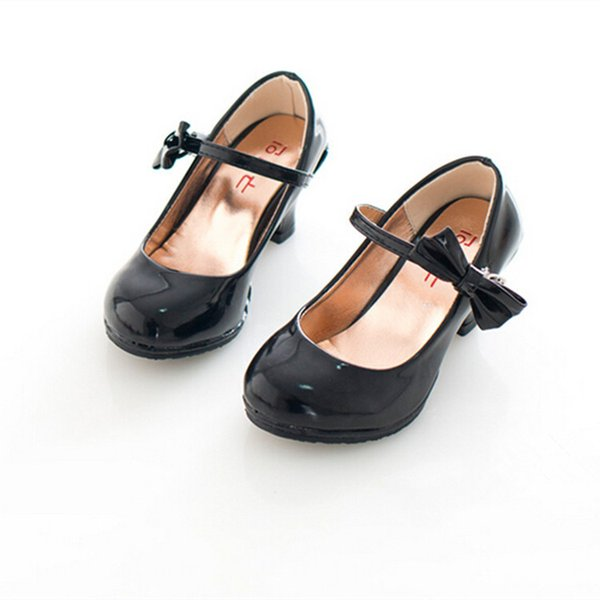 Mädchen hochhackige Lackleder Schuhe 2019 Frühlingssommerprinzessin rot rosa Schuhe formelle Party Tanz Kinder Mädchen Schuhe
