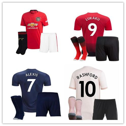 2019 2020 MAN United Kids KIT LUKAKU ALEXIS HOME Camisa de futebol 19 20 POGBA MARINGAL LINGARD UTD MATA United away pink third Football Shirt