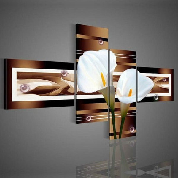 hand-painted wall art black Pure white lilies home decoration Landscape oil painting on canvas 4pcs set DY-044