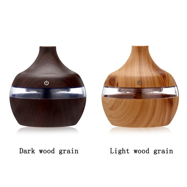 Electric Aroma Essential Oil Diffuser Ultrasonic Air Humidifier Purifier Wood Grain USB Mini Home Office Colorful LED lights 300ml