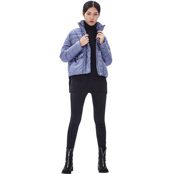 ODM New ladies down filled coats design short down padding coat black and gray and blue coat