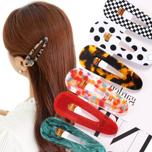Geometric Hair Accessories Waterdrop Women Vintage Girl Triangle Hollow Hairpin Fashion Acrylic Hair Clips Korea
