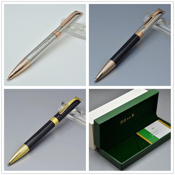 3 Estilos Papel de lujo con bolígrafo de metal con caja fina Papelería de oficina Plumas de repuesto para regalos de empresa