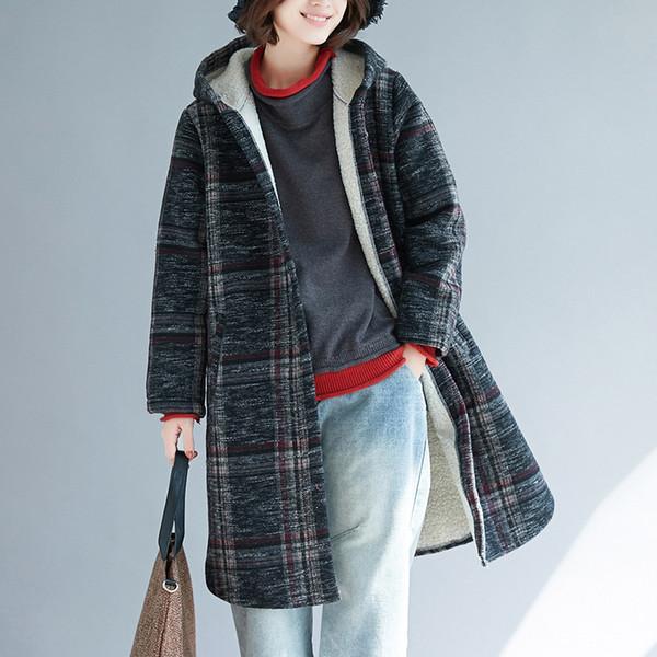 Femmes Hiver Nouveau Casual Style élégant Coton Long Plus Velvet Plus épais Plaid Simple Bouton Dames Femme De Mode Manteau Manteau